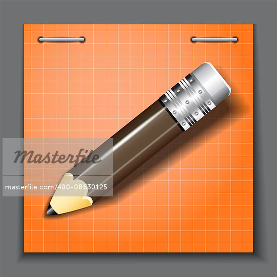 Small pencil on the orange paper sheet background. Vector illustration.