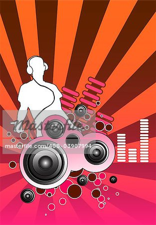 Design piece with a DJ and various musical elements including speakers. Stock Photo - Budget Royalty-Free, Image code: 400-03907994