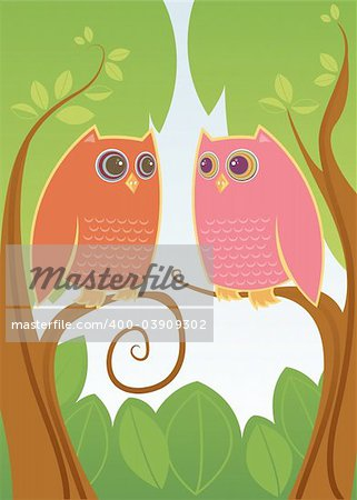 Two colorful owls in love - looking deeply into eachother's HUGE eyes Stock Photo - Budget Royalty-Free, Image code: 400-03909302
