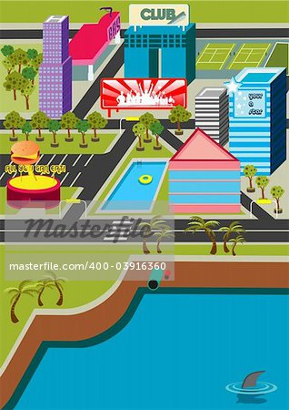 A funky virtual mini city! Stock Photo - Budget Royalty-Free, Image code: 400-03916360