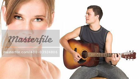 Close-up of the face of a beautiful brunette woman isolated on white. Young man in jeans and a t-shirt playing guitar and singing a song. Possibly lovers, implied nudity Stock Photo - Budget Royalty-Free, Image code: 400-03924806