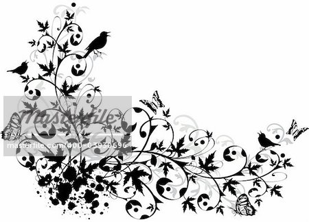 abstract floral border, vector background illustration