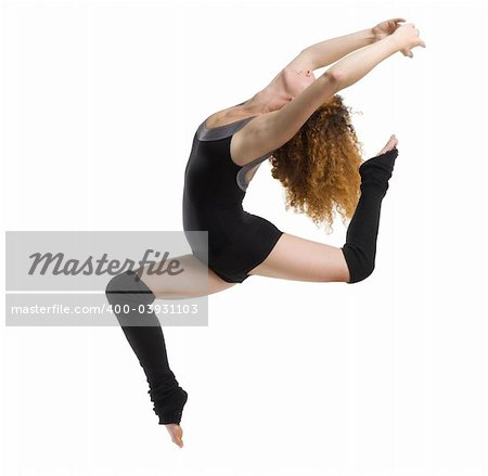 a modern dancer with black dress jumping Stock Photo - Budget Royalty-Free, Image code: 400-03931103