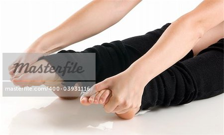 legs in black knee socks warming up Stock Photo - Budget Royalty-Free, Image code: 400-03931116