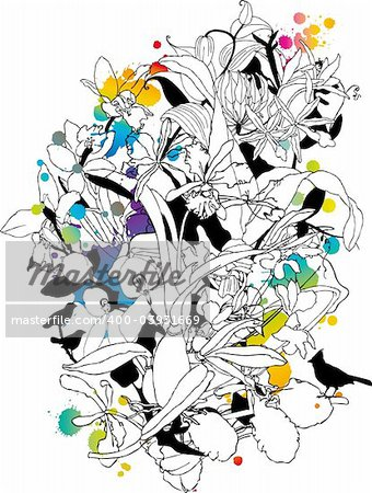 abstract floral background with birds