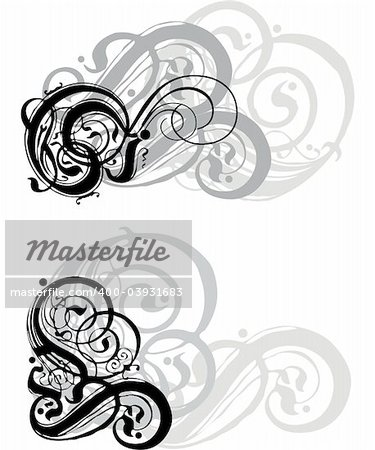 abstract grungy swirls on white  background