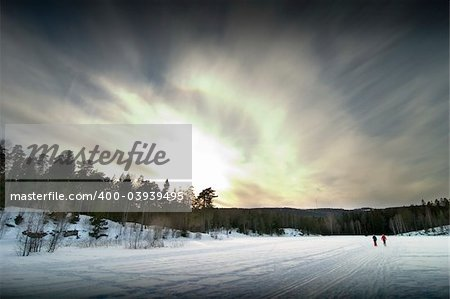 Skiing on a bright sunny day Stock Photo - Budget Royalty-Free, Image code: 400-03939495