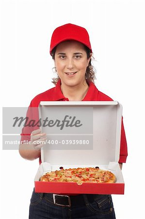 A pizza delivery woman holding a hot pizza. Isolated on white Stock Photo - Budget Royalty-Free, Image code: 400-03939880