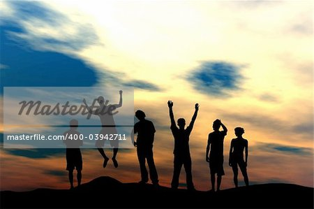 Active people silhouette at sunset - team concept Stock Photo - Budget Royalty-Free, Image code: 400-03942711
