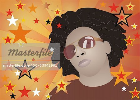 Vector illustration of funky afroamerican man with stars background Stock Photo - Budget Royalty-Free, Image code: 400-03942981