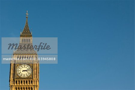 London Big ben with blue sky background in Westminster