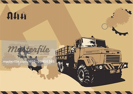 ... illustration of vintage truck in a grunge style on urban background