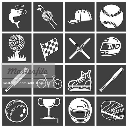 A set of sports icons / design elements. Vector art in Adobe Illustrator 8 EPS format. Can be scaled to any size without loss of quality. Stock Photo - Budget Royalty-Free, Image code: 400-03956905