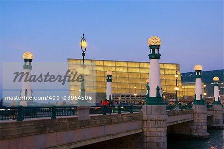 Bridge of Zurriola lit at dusk Donostia Stock Photo - Budget Royalty-Free, Image code: 400-03964506