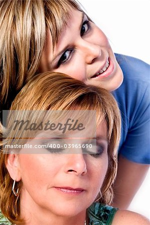 A portrait taken from mother and daughter taken on a white background Stock Photo - Budget Royalty-Free, Image code: 400-03965690