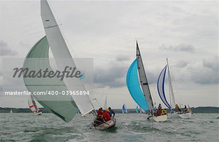 Yachts racing on a stormy day Stock Photo - Budget Royalty-Free, Image code: 400-03965894