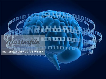 3d rendered illustration of a binary code and a human brain