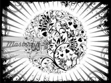 This is vector illustration background of abstract grunge floral
