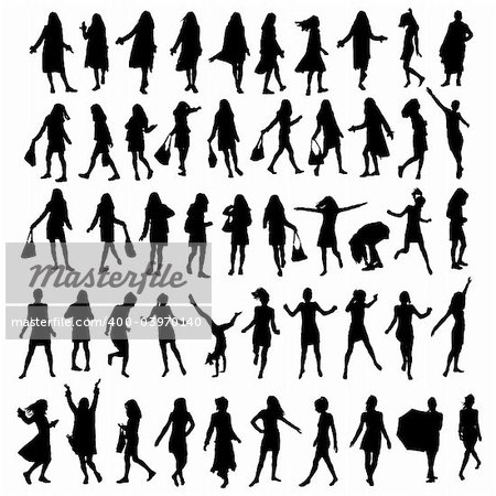 50 different highly detailed silhouettes of a woman Stock Photo - Budget Royalty-Free, Image code: 400-03970140
