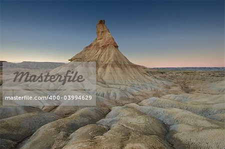 Castildetierra by night in the Bardenas reales, Navarra (Spain) Stock Photo - Budget Royalty-Free, Image code: 400-03994629