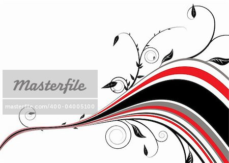 Floral inspired abstract background in red and black