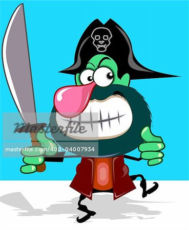 Illustration of fantasy of a pirate with sword Stock Photo - Budget Royalty-Free, Image code: 400-04007934