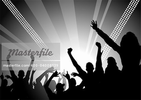 A huge crowd at a concert cheering! Stock Photo - Budget Royalty-Free, Image code: 400-04008339