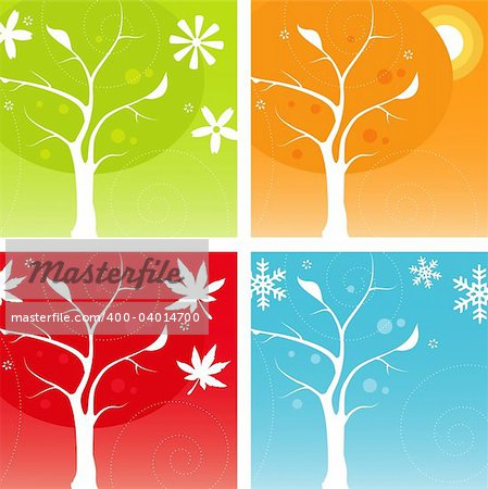 Stylized Four Seasons Icon Set, easy-edit vector file Stock Photo - Budget Royalty-Free, Image code: 400-04014700