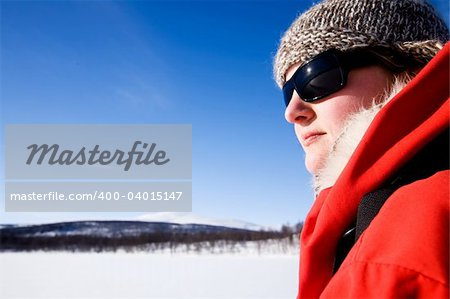 A female on a winter adventure trip in the mountains Stock Photo - Budget Royalty-Free, Image code: 400-04015147