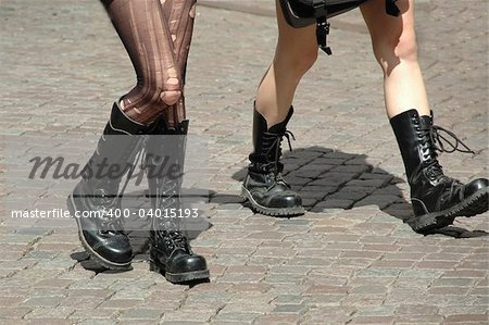 Girls walking in boots Stock Photo - Budget Royalty-Free, Image code: 400-04015193