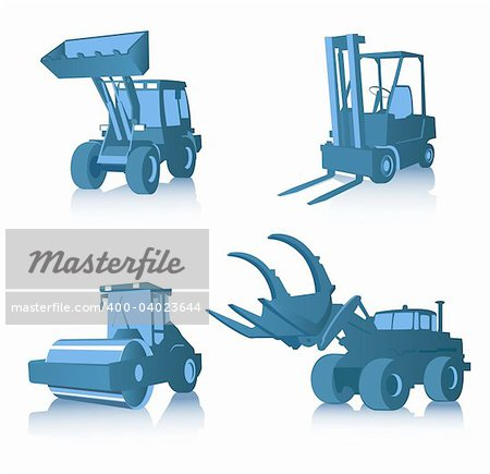 Vector set of four industrial machines