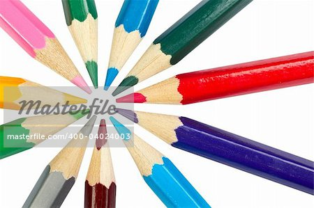 Assortment of coloured pencils isolated on white background. Path included Stock Photo - Budget Royalty-Free, Image code: 400-04024003