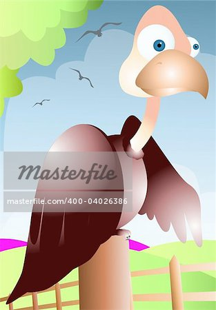 Illustration of a cartoon vulture Stock Photo - Budget Royalty-Free, Image code: 400-04026386