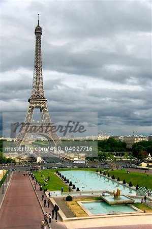 Storm clouds on the Eiffel Tower, Paris (France) Stock Photo - Budget Royalty-Free, Image code: 400-04027716