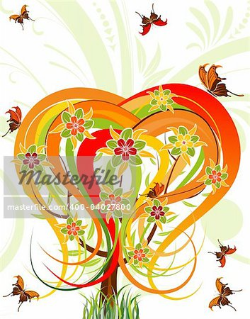 Flower tree with butterfly, element for design, vector illustration