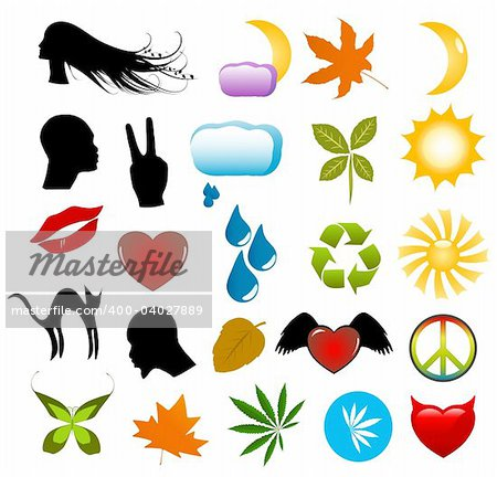 Vector symbols, nature icons and human silhouettes clip-art set