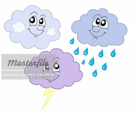Various cute clouds - vector illustration.