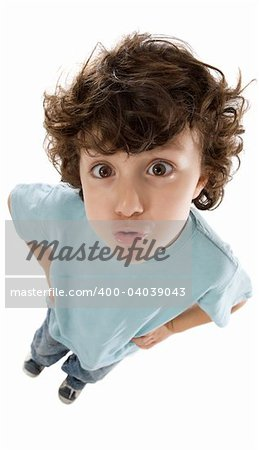 Funny photo of the child a over white background Stock Photo - Budget Royalty-Free, Image code: 400-04039043