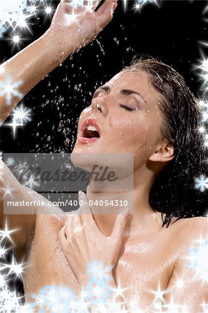 picture of wet brunette girl over black Stock Photo - Budget Royalty-Free, Image code: 400-04054310