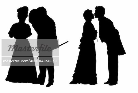 Black silhouettes of the man and the woman in clothes of XIX century