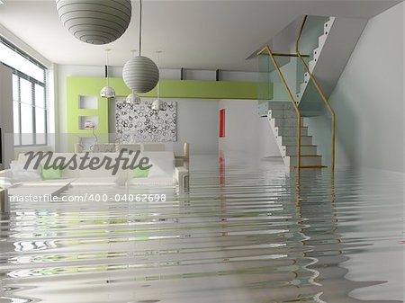 modern interior with stair under the water(3D) Stock Photo - Budget Royalty-Free, Image code: 400-04062698