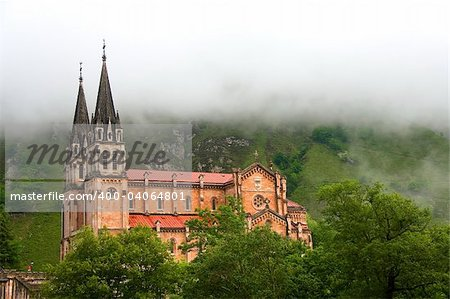 Fog at the shrine of Covadonga, Asturias (Spain) Stock Photo - Budget Royalty-Free, Image code: 400-04064801