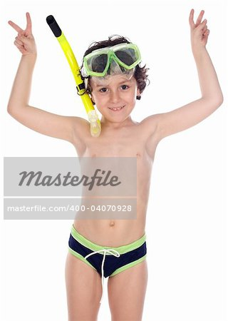 Adorable child with diving mask  over white background Stock Photo - Budget Royalty-Free, Image code: 400-04070928