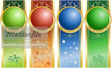 Backdrop in four color. Four seasons. Summer, fall, winter, spring