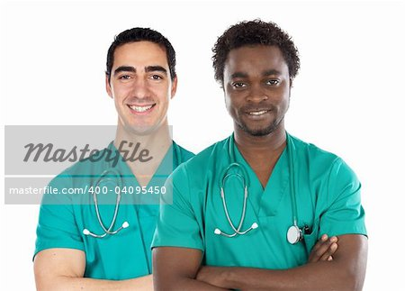 Two doctor on a over white background