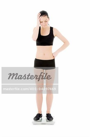 picture of unhappy woman on scales over white Stock Photo - Budget Royalty-Free, Image code: 400-04097469