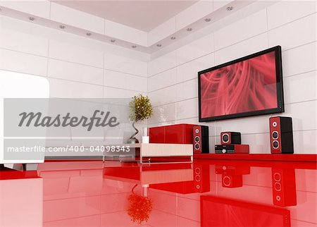 red and white living room with home theater , the image on tv screen is a my image - rendering Stock Photo - Budget Royalty-Free, Image code: 400-04098343