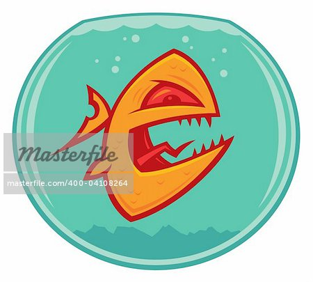 Vector cartoon of an angry and vicious goldfish in a small fishbowl. He could also be a piranha. Stock Photo - Budget Royalty-Free, Image code: 400-04108264
