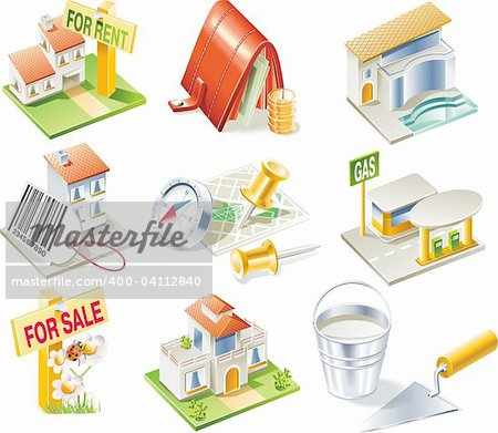 Real estate related detailed icon set Stock Photo - Budget Royalty-Free, Image code: 400-04112840