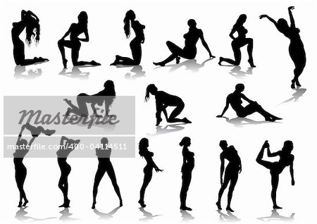Vector drawing nude girls, silhouette against a white background. Saved in eps format for illustrator 8.
